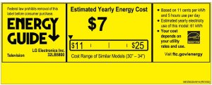 LG 32LB5800 FHD LED TV Energy Guide