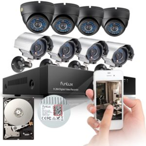 Funlux 8CH 960H Network DVR 8 600TVL Outdoor Metal CCTV IR